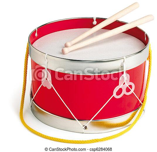 cortando, brinquedo, tambor, isolado, caminho, branca - csp6284068