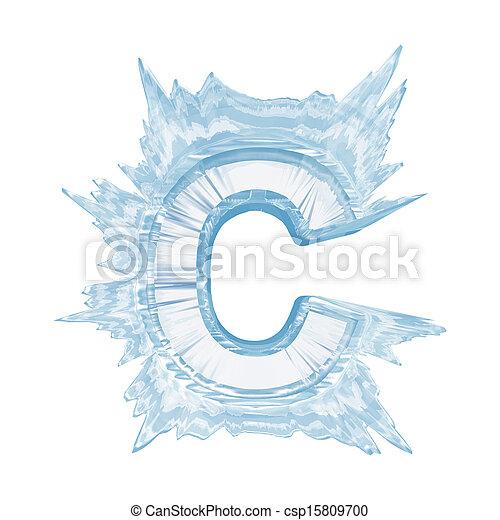 cortando, font., gelo, case.with, cristal, letra, caminho, c.upper - csp15809700