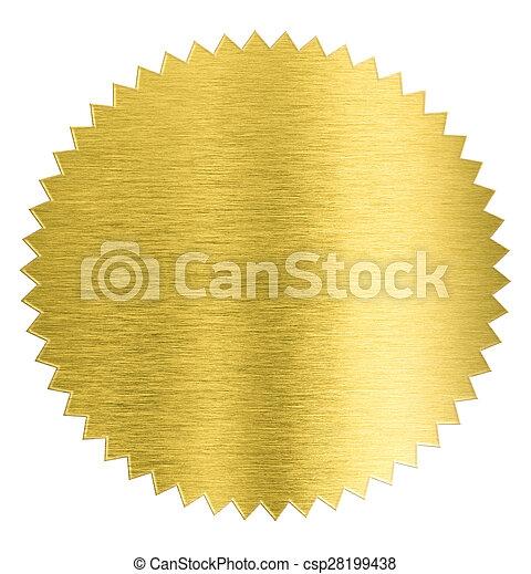cortando, ouro, adesivo, metal, isolado, folha, selo, included, caminho - csp28199438