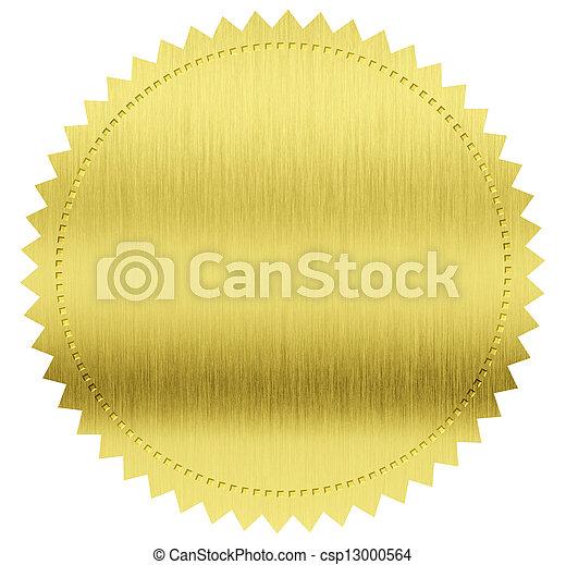 cortando, ouro, etiqueta, selo, included, caminho - csp13000564