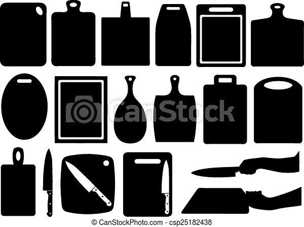 Un juego de tablas de cortar en la cocina - csp25182438