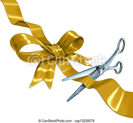 corte, fita ouro - csp13239376