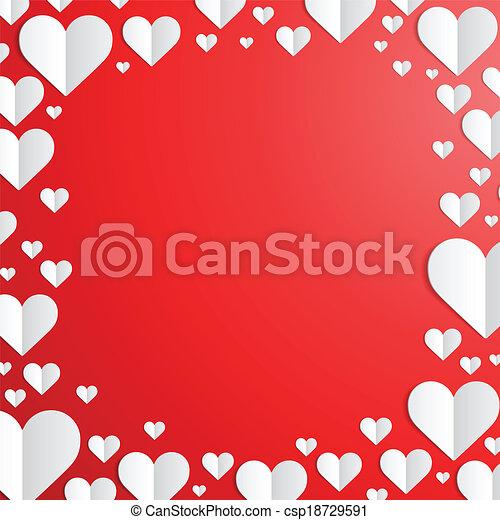 corte, marco, valentines, papel, corazones, día - csp18729591