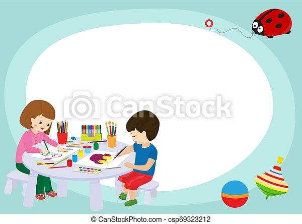 Niños creativos enmarcan la ilustración de vectores. Dibujo de niña y niño, pintura, corte de papel, bocetos. Educación, concepto de disfrute. Lápices, acuarela, plasticina. Jugando con juguetes. - csp69323212