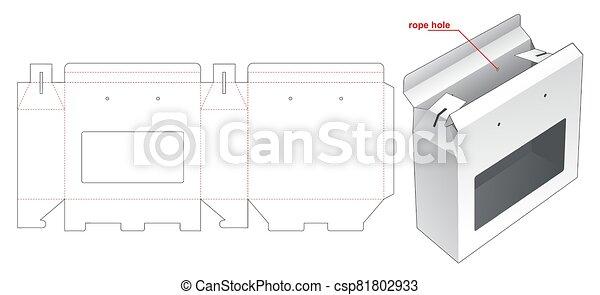 corte, plantilla, proceso de llevar, ventana, dado, caja - csp81802933