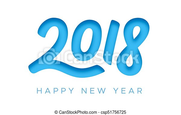 Feliz Año Nuevo 2018 tarjeta de felicitación con corte de papel - csp51756725