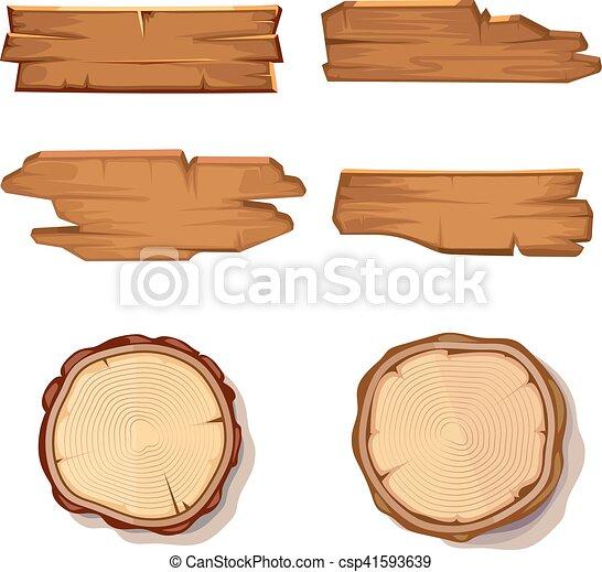 Viejos tablones vectores de madera y vi tronco de árbol cortado aislado en blanco - csp41593639