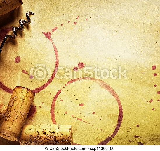 cortiça, vindima, manchas, papel, fundo, saca-rolhas, vinho tinto - csp11360460