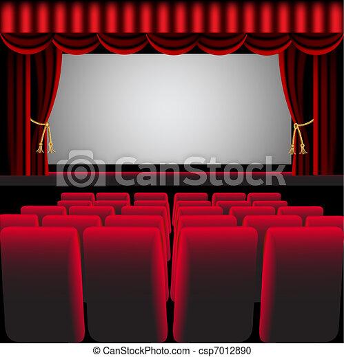 Sala de cine con cortina roja y silla fácil - csp7012890