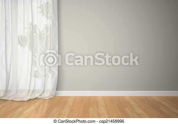 Habitación vacía con cortinas - csp21458996