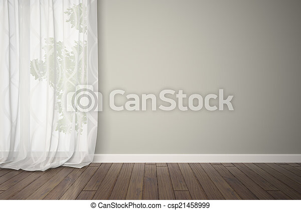 Habitación vacía con cortinas - csp21458999