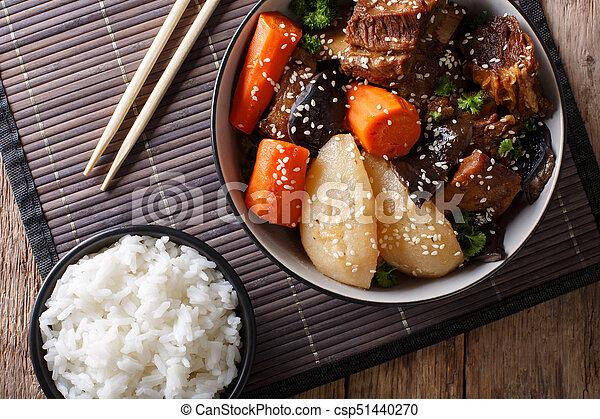 corto, manzo, cima, galbi, coreano, jjim, brasato, close-up., orizzontale, riso, costole, vista - csp51440270
