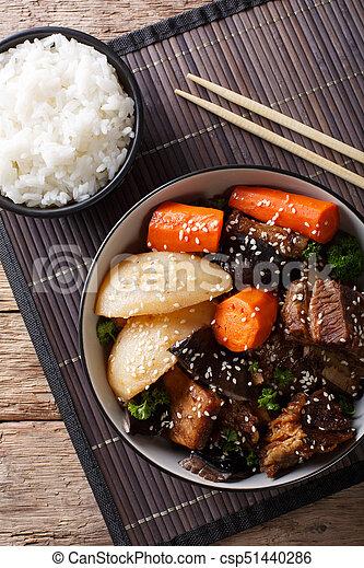 corto, verticale, manzo, cima, coreano, jjim, brasato, close-up., galbi, riso, costole, vista - csp51440286