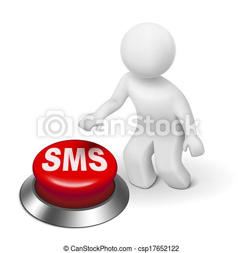 Botón de mensajería 3D - csp17652122
