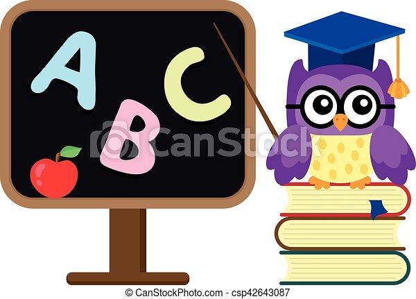 coruja, escola, imagem, stylized, tema, 1 - csp42643087