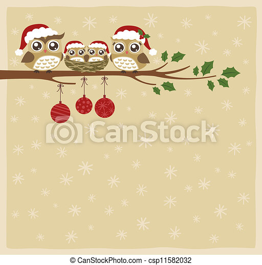 coruja, natal, celebração familiar - csp11582032