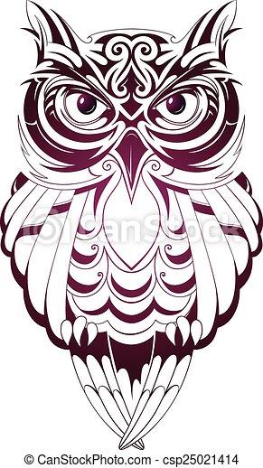 Coruja Tatuagem Isolado Ilustracao Vetorial Branca