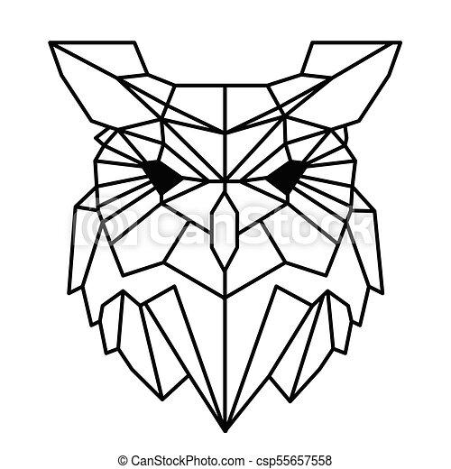 Coruja Tatuagem Geometria Imagem Modernos Vetorial Desenho
