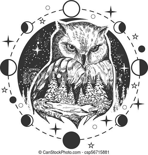 Coruja Tatuagem T Shirt Vetorial Desenho Impressao Ou