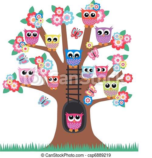 corujas, árvore - csp6889219