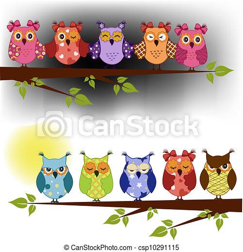 corujas, filial árvore, família, sentado - csp10291115