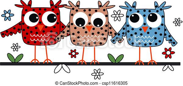 corujas, três - csp11616305