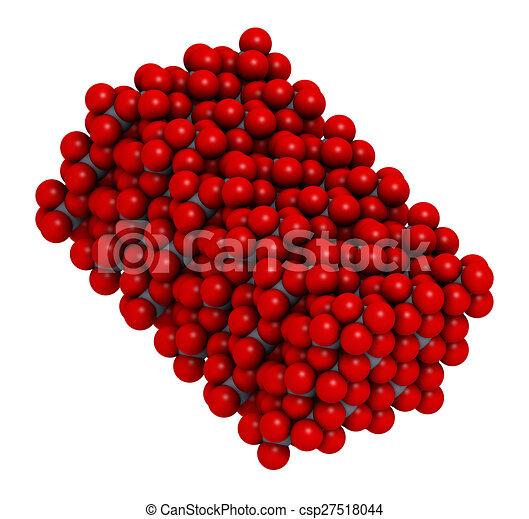 Corundum (Aluminium oxide), crystal structure. Ruby gems consist of red transparent corundum, sapphire from other color varieties of transparent corundum - csp27518044