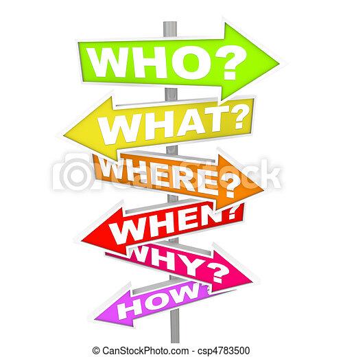 cosa, domande, quando, -, come, freccia, segni, dove, perché - csp4783500