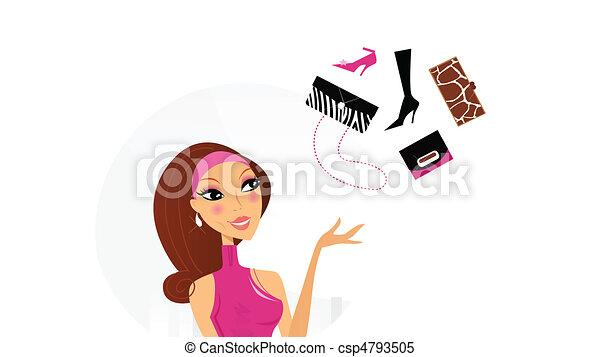 cosa, donna, comprare, fare, decisione - csp4793505