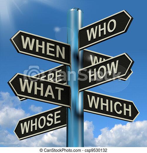 cosa, signpost, quando, ricerca, brainstorming, confusione, dove, perché, mostra - csp9530132