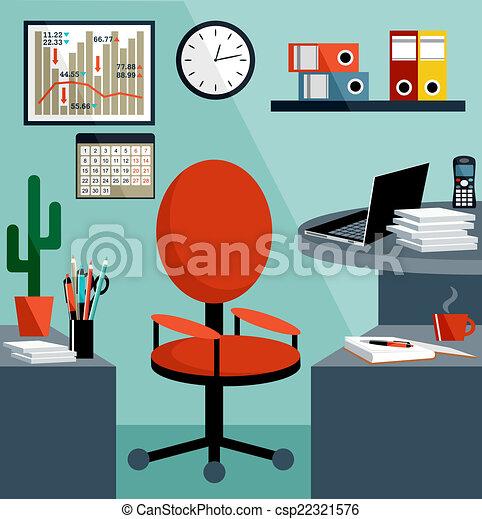 Trabajo de negocios con cosas de oficina, equipo, objetos. - csp22321576