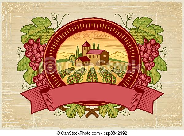 La etiqueta de la cosecha de uvas - csp8842392