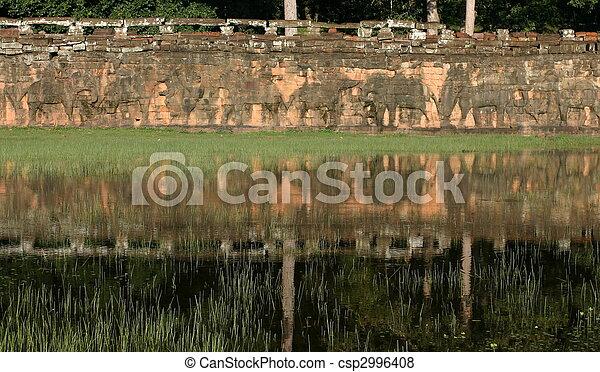Terraza De Elefantes Angkor Siem Cosecha Cambodia La