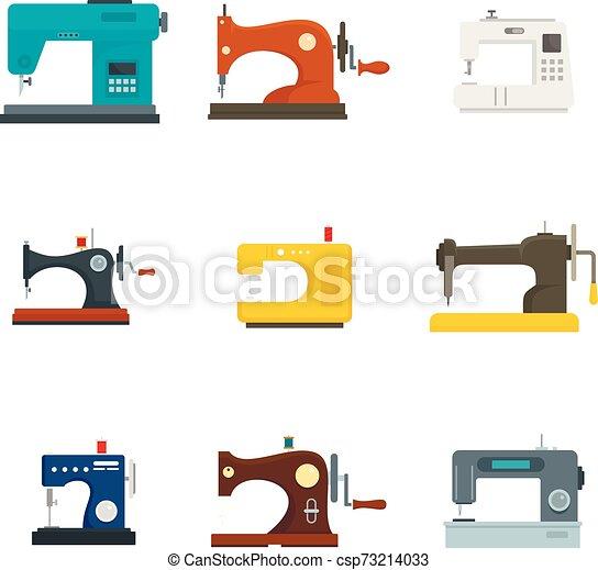 Juego de iconos de la máquina de coser, estilo plano - csp73214033
