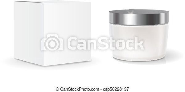 Cosmetic blank pack box and skin care cream jar template. realistic ...