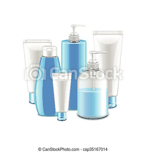 Cosmetic collection isolated on white vector - csp35167014