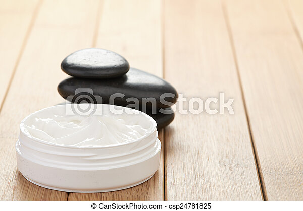 cosmetic cream with herbal flower - csp24781825