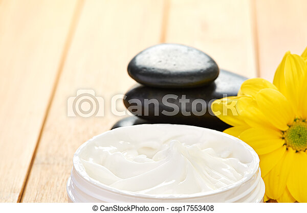 cosmetic cream with herbal flower - csp17553408