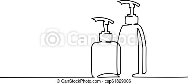 Cosmetic Shampoo Bottles Continuous One Line Draw Continuous One