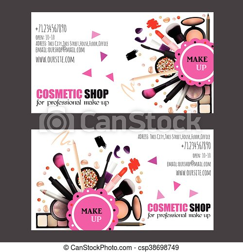 Cosmetic shop business card design set cosmetic products for cosmetic shop business card design set cosmetic products for professional make up artists vector reheart Images