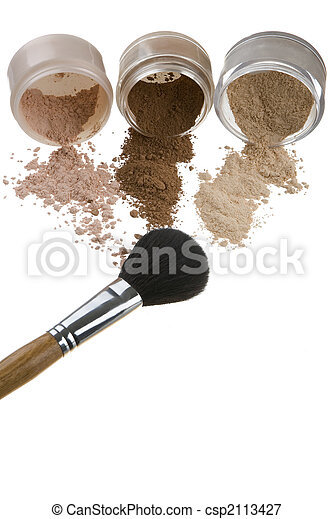 Cosmetics and brushes for a make-up on a light background - csp2113427