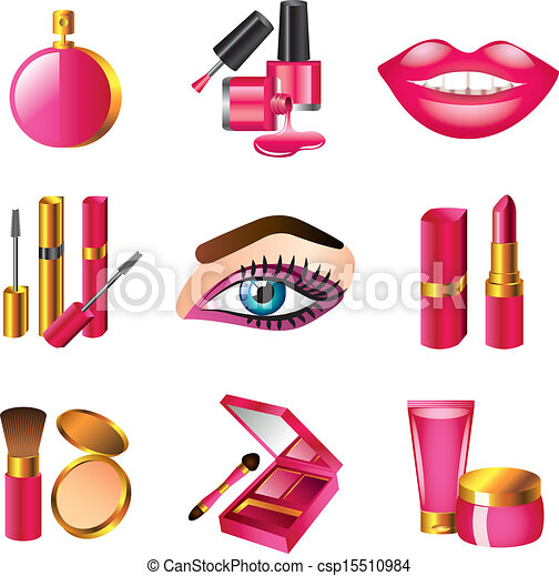 Cosmetics And Make Up Icons Set Cosmetics And Make Up Detailed