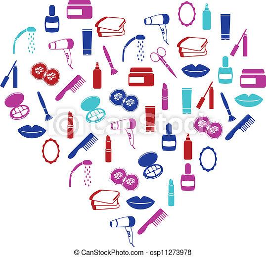 cosmetics icons in heart - csp11273978