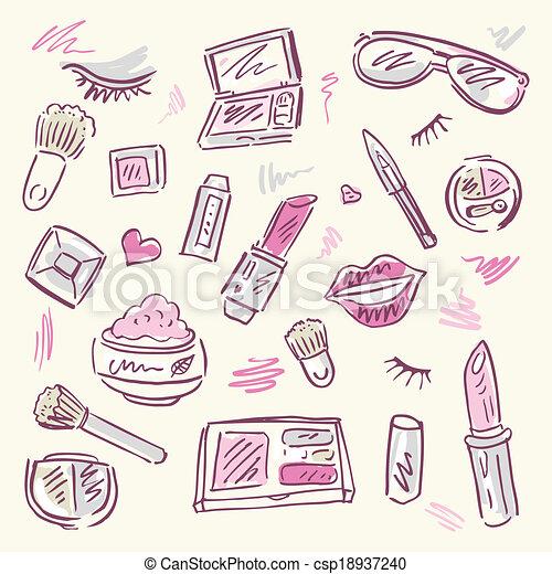 Cosmetics Makeup Set Makeup Products Set Cosmetics Hand Drawn