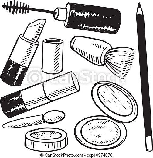 Cosmetics objects sketch - csp10374076