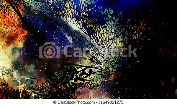 Cosmic space and stars, color cosmic abstract background and Black Fractal structure. - csp49021275
