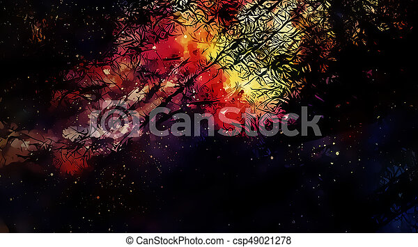 Cosmic space and stars, color cosmic abstract background and Black Fractal structure. - csp49021278