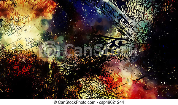 Cosmic space and stars, color cosmic abstract background and Black Fractal structure. - csp49021244