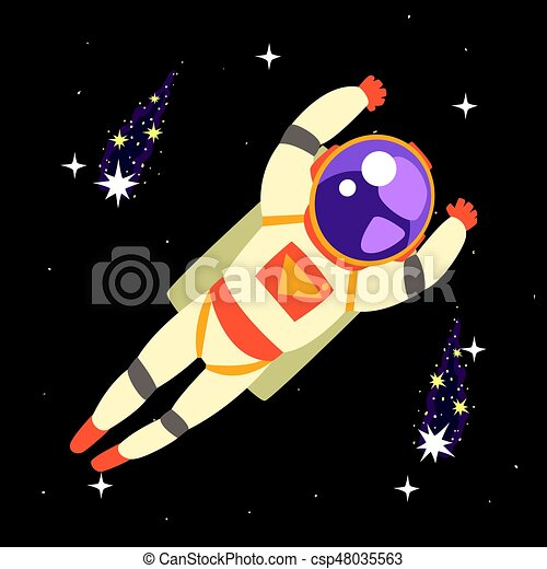 Cosmonaut floating in outer Space - csp48035563