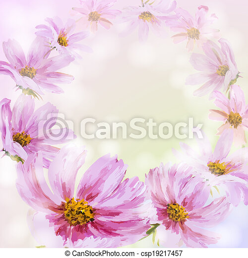 Cosmos flowers background. - csp19217457